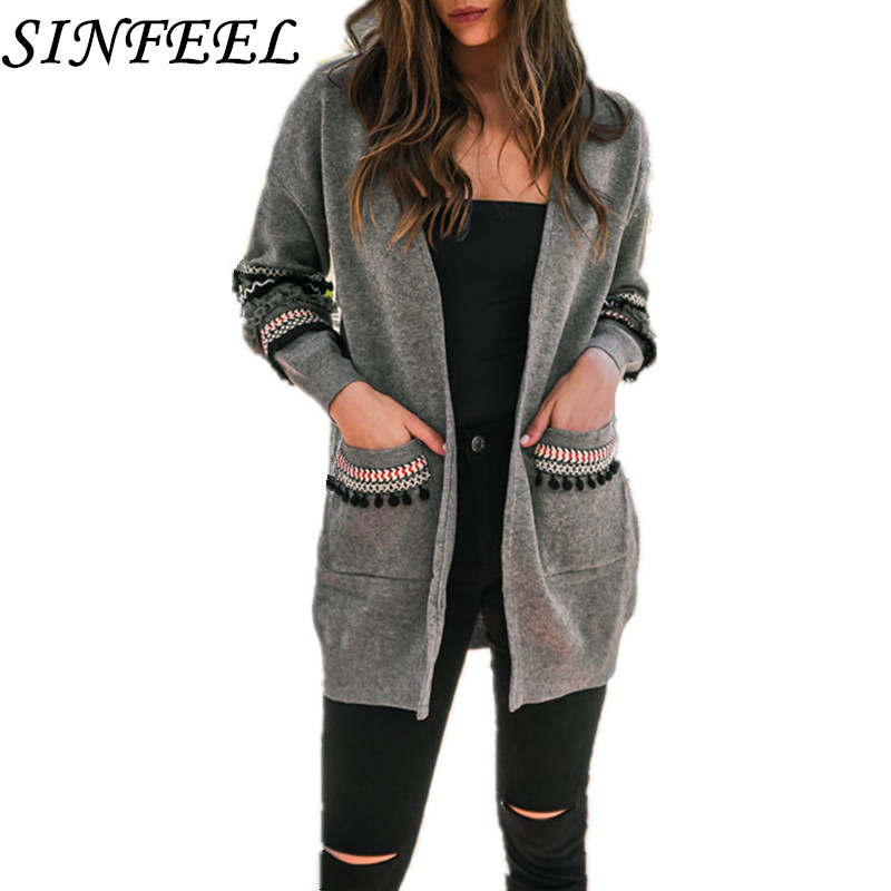 Sinfeel Long Cardigan Women Long Sleeve Knitted Sweater Kimono Cardigans Autumn Winter Sweaters Female Jersey Mujer Invierno