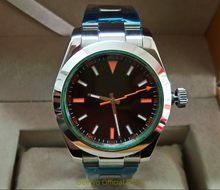 ad36b26330b Cristal de safira 40mm GEERVO mostrador preto Asiático relógio dos homens  movimento Mecânico Automático Auto-Vento relógios de P..