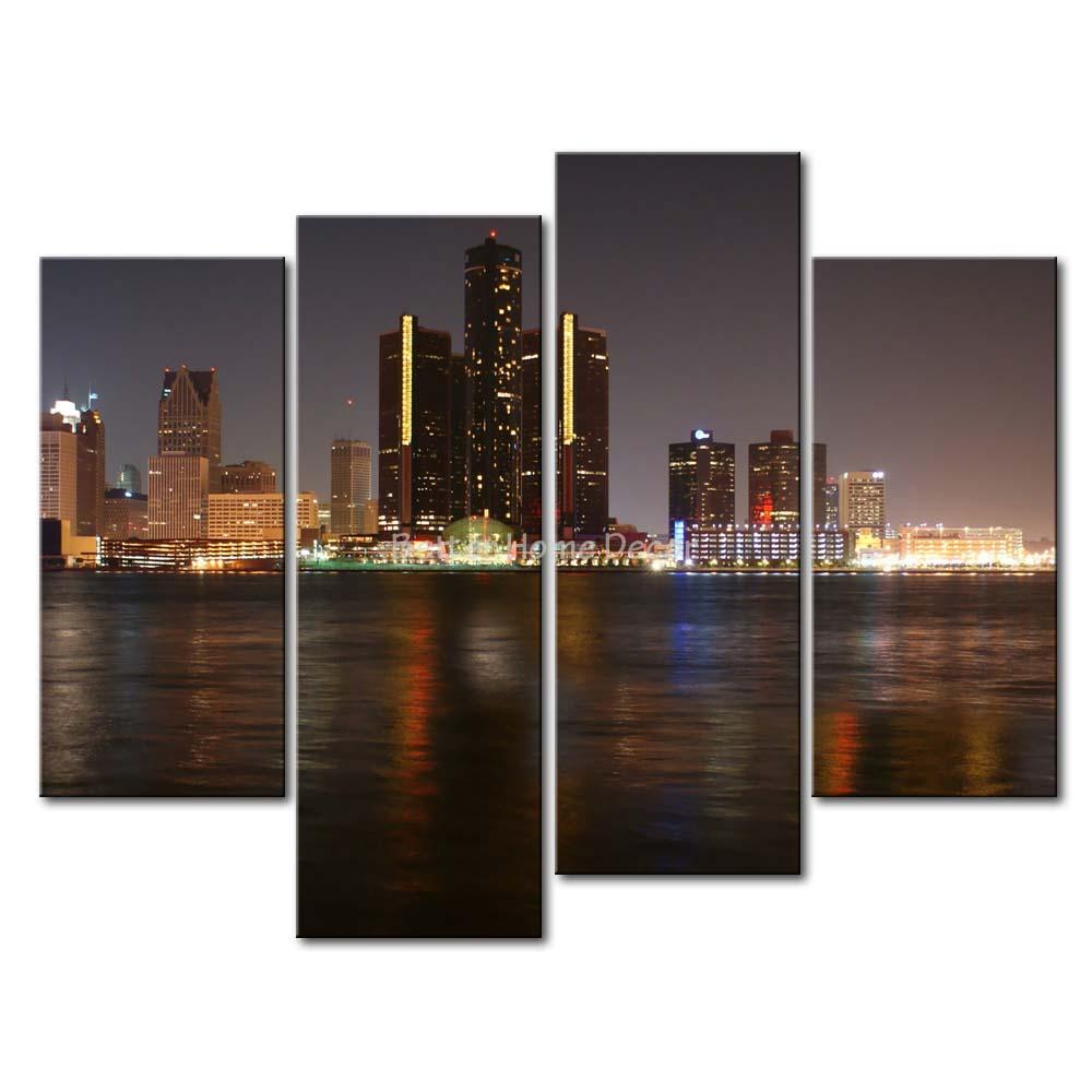 Aliexpress Com Buy 3 Pieces Wall Art New York City: 3 Piece Wall Art Painting Detroit Skyline Print On Canvas