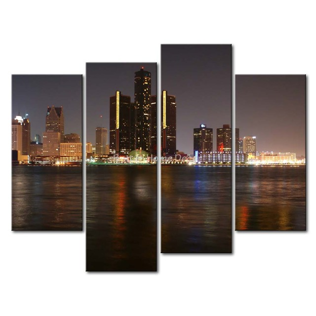 Detroit Wall Art 3 piece wall art painting detroit skyline print on canvas the