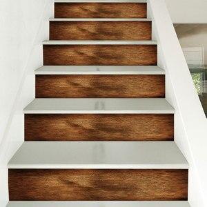Image 4 - 3D התאמה הטובה ביותר עץ דפוס אריחי קיר מדרגות מדבקות נשלף Pvc קיר מדבקה עמיד למים קיר פוסטר עבור חדר מדרגות