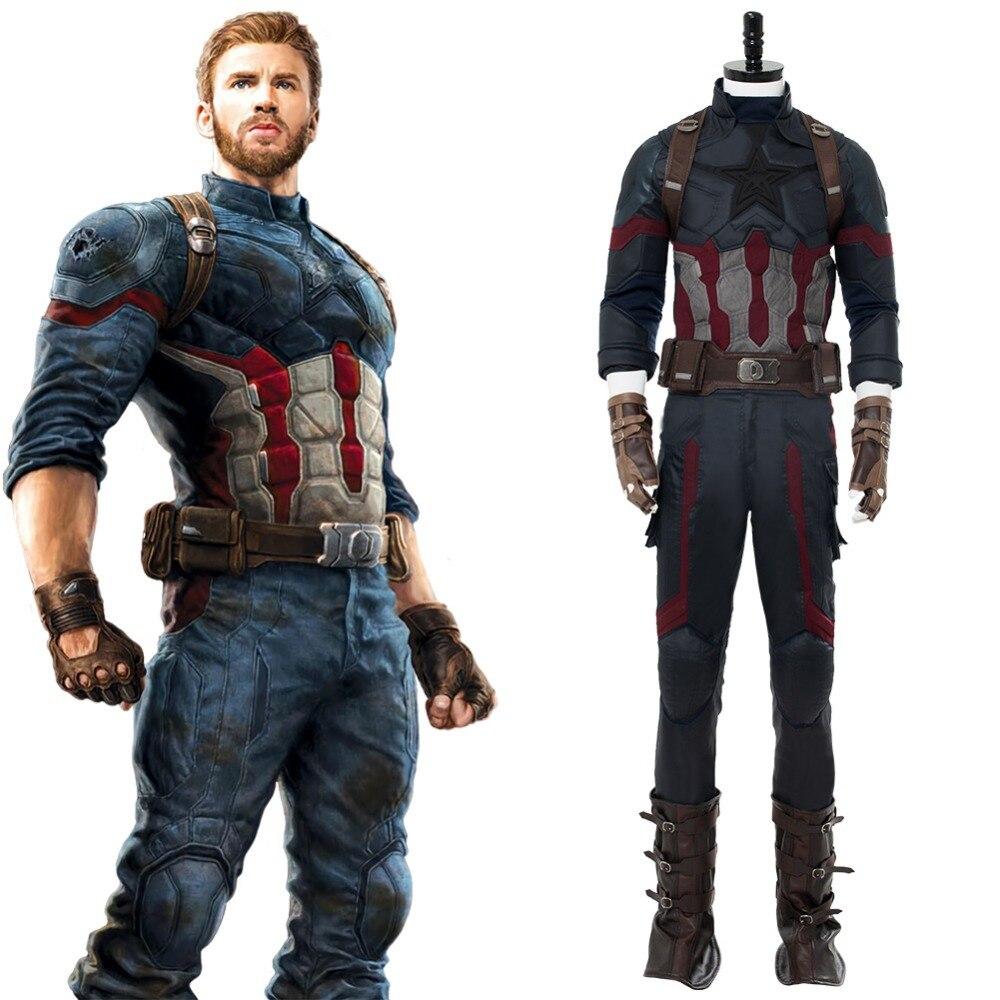 Мстители: Бесконечность войны Капитан Америка Стивен Роджерс Косплэй костюм для взрослых Для мужчин полные комплекты наряд Новое поступле...