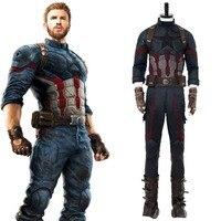 Мстители: Бесконечность войны Капитан Америка Стивен Роджерс Косплэй костюм для взрослых Для мужчин полные комплекты наряд Новое поступле