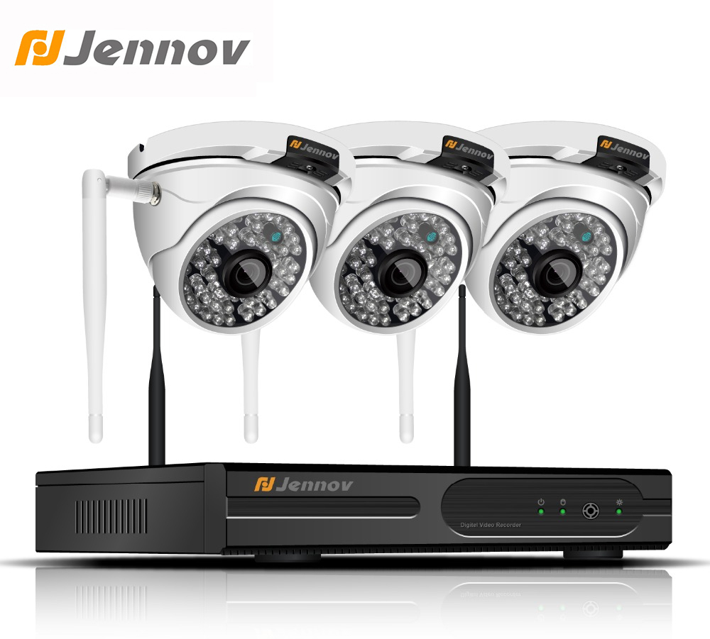 Jennov 4CH HD CCTV Set 1080P 2MP Outdoor IP Camera Set Security Camera System Wireless Video Surveillance Kit WiFi NVR P2P 4ch wireless nvr kit 13 lcd monitor screen waterproof 1080p 2mp security cctv ip camera wifi p2p video surveillance system set