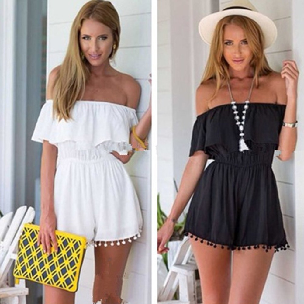 Summer cold shoulder playsuits jumpsuits women casual loose white romper Short Overalls 2018 Sexy Ladies lace tassel romper C3