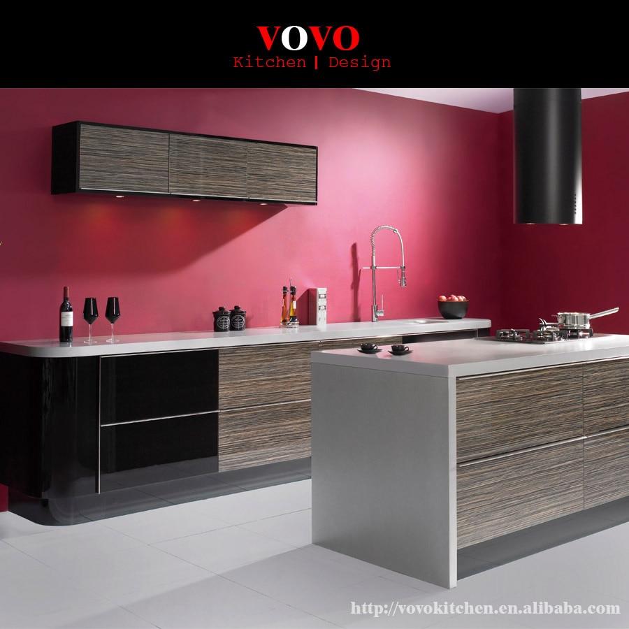 Luxury modern high gloss wood grain laminate font b kitchen b font font b cabinets b