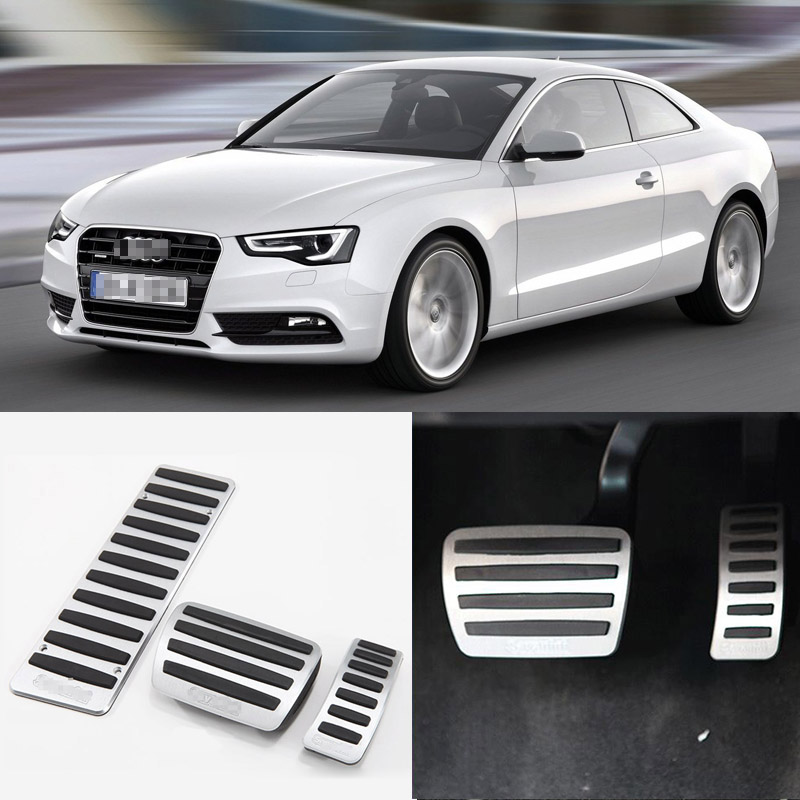 Brand New 3pcs Aluminium Non Slip Foot Rest Fuel Gas Brake Pedal Cover For Audi A5 2008-2016 AT brand new 2pcs aluminium non slip foot rest fuel gas brake pedal cover for mazda cx 5 at 2013 2016