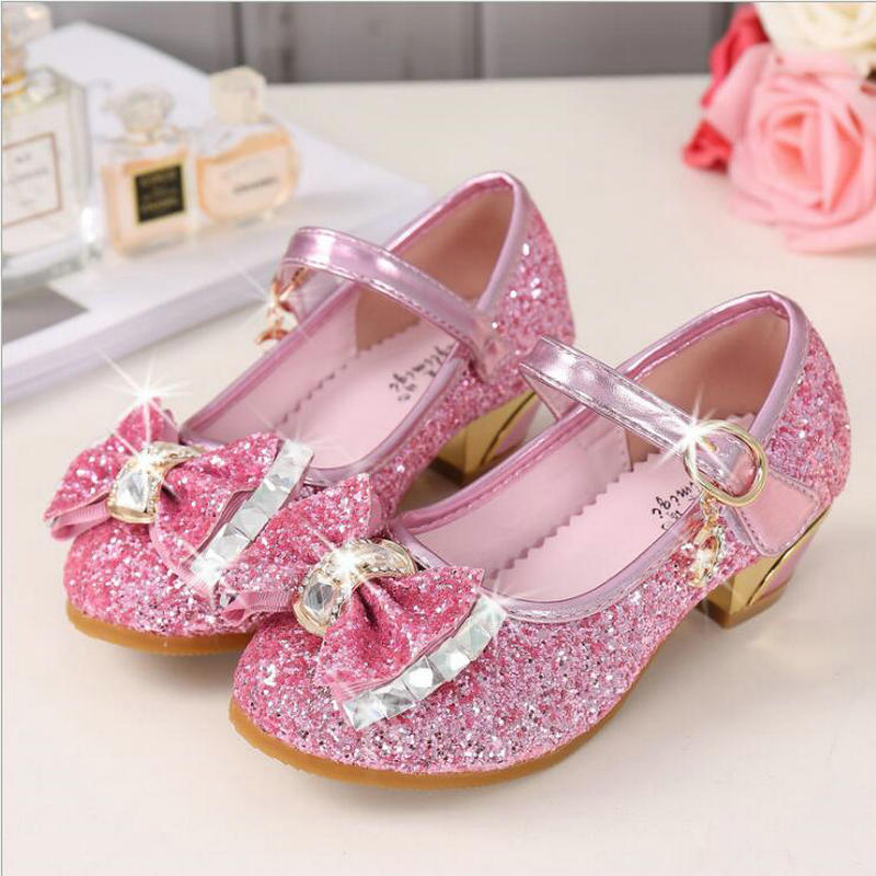 Children Shoes For Girls High Heel Princess Sandals Fashion Kids Shoes Glitter Leather Butterfly Girls Party Dance ShoesChildren Shoes For Girls High Heel Princess Sandals Fashion Kids Shoes Glitter Leather Butterfly Girls Party Dance Shoes