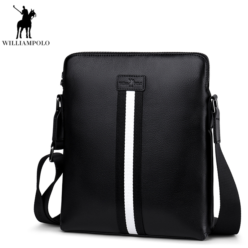 WILLIAMPOLO 2018 Genuine Leather Shoulder Bag Men Bags Messenger Casual Men's Travel Bag Crossbody Bags Shoulder Handbags PL018D casual canvas women men satchel shoulder bags high quality crossbody messenger bags men military travel bag business leisure bag