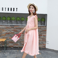 Maternity Clothing Ruffle Pregnant Clothes Women Dress Sleeveless Sweet Cotton Linen Korean Version Of Pregnancy