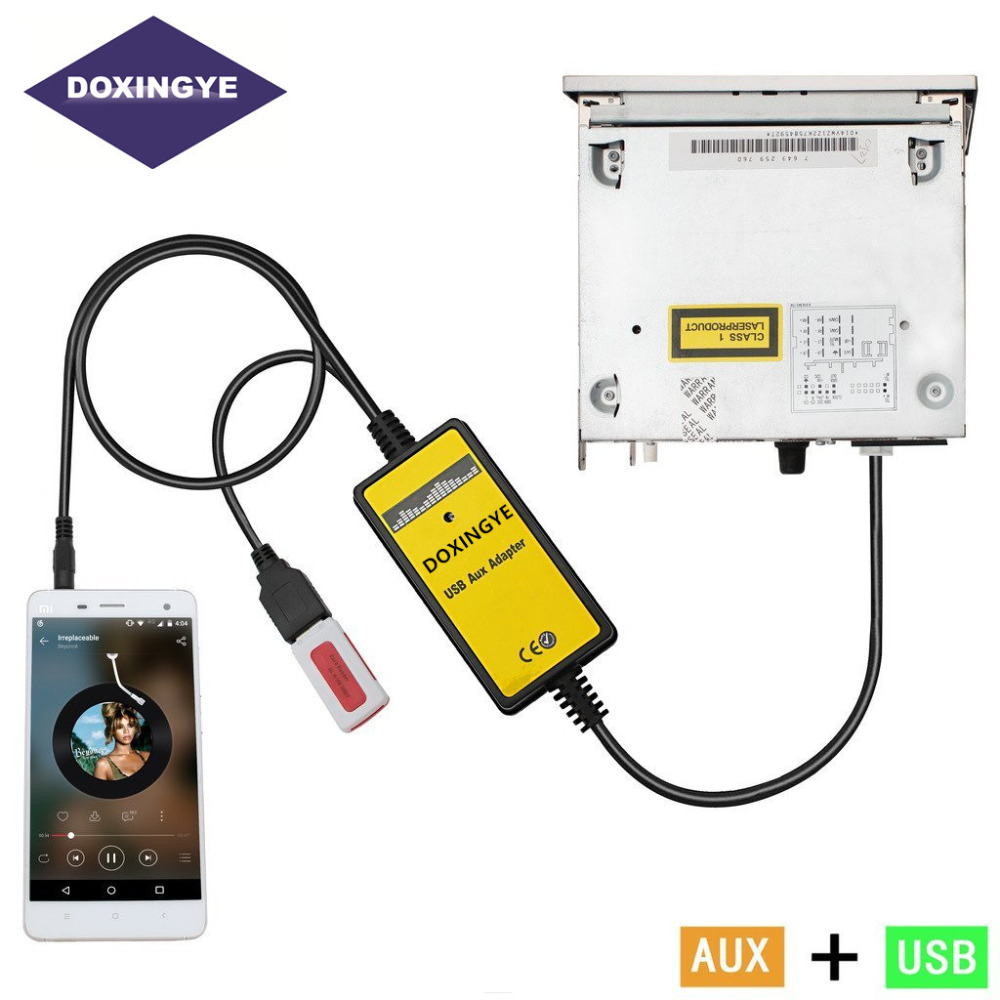 12pin Auto 3 5mm Cd Wechsler Interface Usb Mp3 Aux In: DOXINGYE Car Aux USB Car Mp3 Music Adapter CD Machine