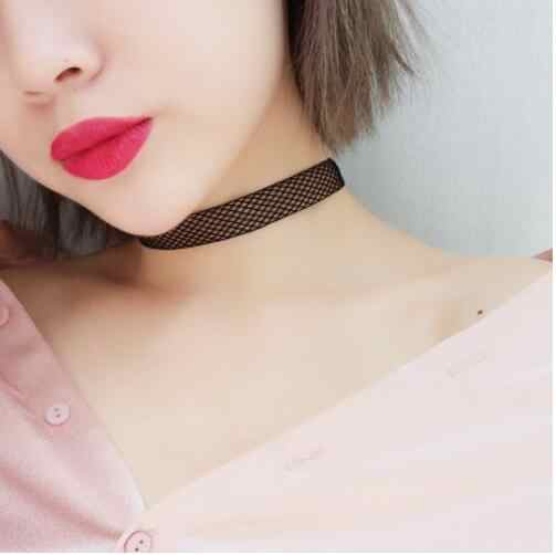 Novo barato preto malha laço de veludo gargantilha colar punk retro gótico elásticos colares para presente feminino frete grátis
