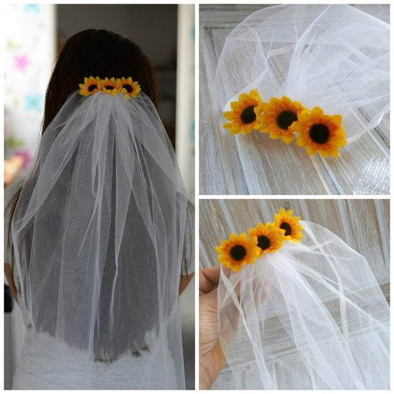 velos novia bachelorette veil bridal shower veil sunflower party accessory headband veil sunflower bride wedding veil in bridal veils from weddings events