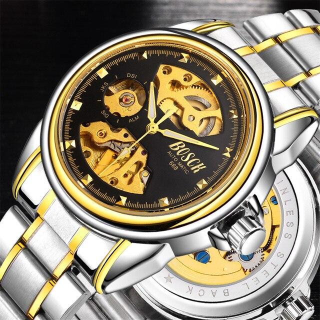 2017 новейшие автоматические механические часы водонепроницаемые мужчины, скелет мужские часы из нержавеющей стали, известный бренд Bosch Gold часы