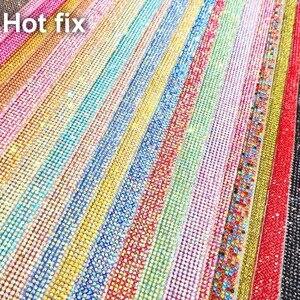 Сверкающих ss6 2 мм полный Стекло Стразы исправлений Hot Fix гладить на клей на аппликация окантовкой сетки лист Свадебные платья обувь отделка