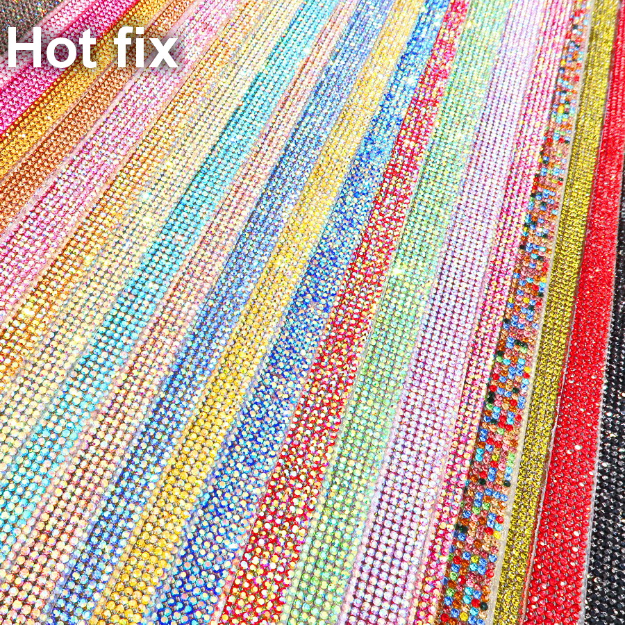Shinning SS6 2mm full Glass Rhinestones hotfix hot fix Iron On glue on applique Banding Mesh sheet Wedding Dresses shoes trim