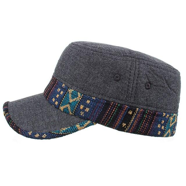 Men Fashion Warm Adjustable Caps Patchwork Outdoor Autumn Winter Trendy  Windproof Casual Caps Visor Flat Felt Hats Accessories 54e88e2999d