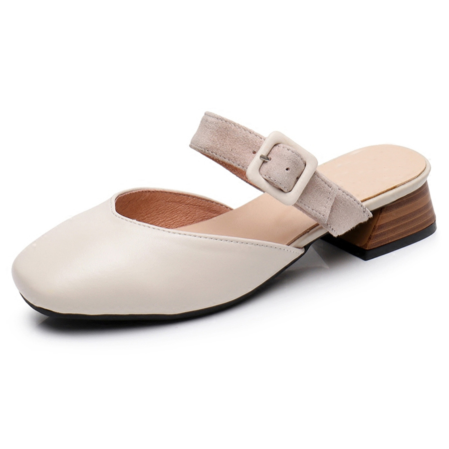 Women genuine Leather spring summer flat Sandals shoes handmade beige oxford slippers vintage Square Toe British