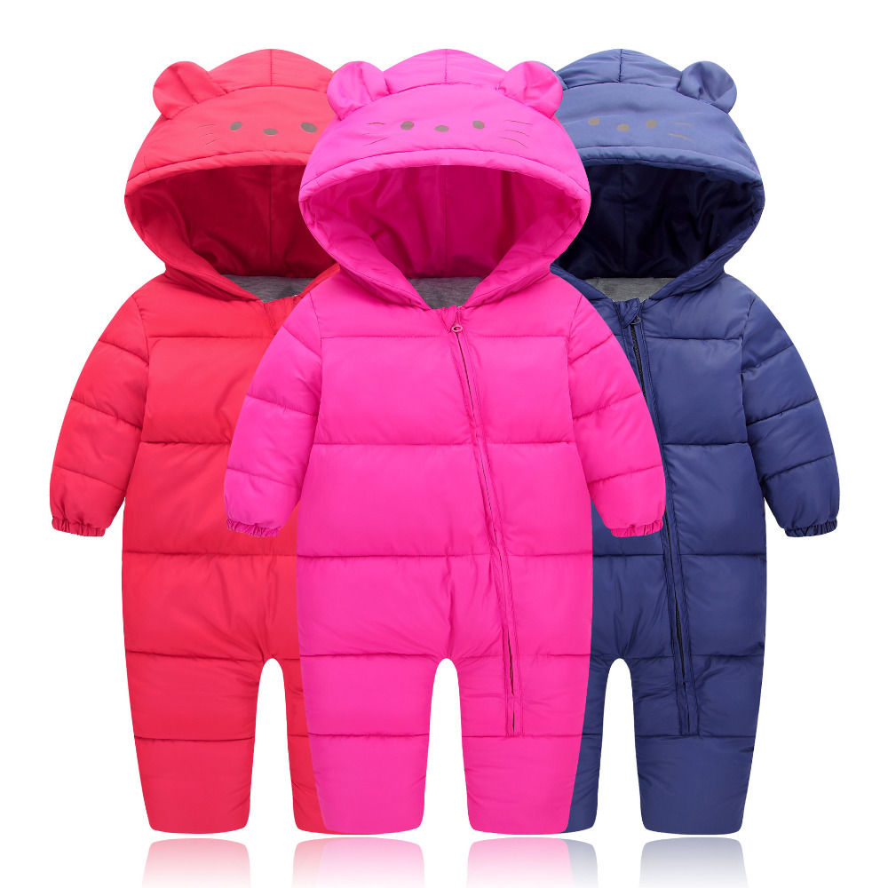 Baby Rompers Winter 2017 Baby Boys Clothes Hooded Baby Girls Rompers Cotton-padded Jumpsuits Infants Kids Winter Clothes