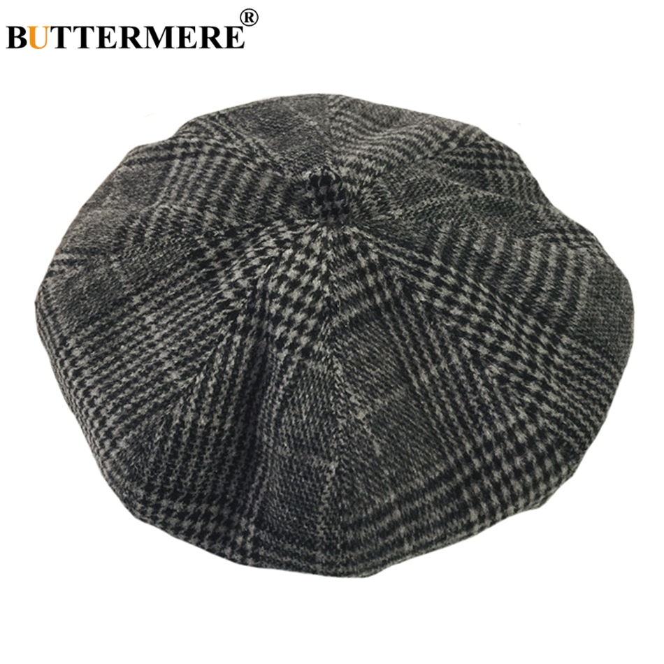 8bd9bbe6abf BUTTERMERE French Painter Hat Houndstooth Womens Casual Khaki Plaid Flat Cap  Vintage Spring Autumn Elegant Ladies Beret Hats