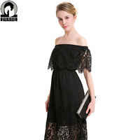 Women Summer Dress Boho Original Design Europe Sexy Strapless Collar Lace Dress Vestidos Plus Size S