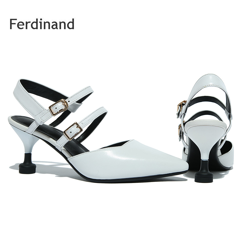2017 New Buckle Women shoes Genuine leather sandals Pointed toe Thin heel Solid color Summer Women high heel shoes Women pumps women genuine leather sandals fashion pointed toe causal shoes buckle solid color black pink orange spring shoes square heel