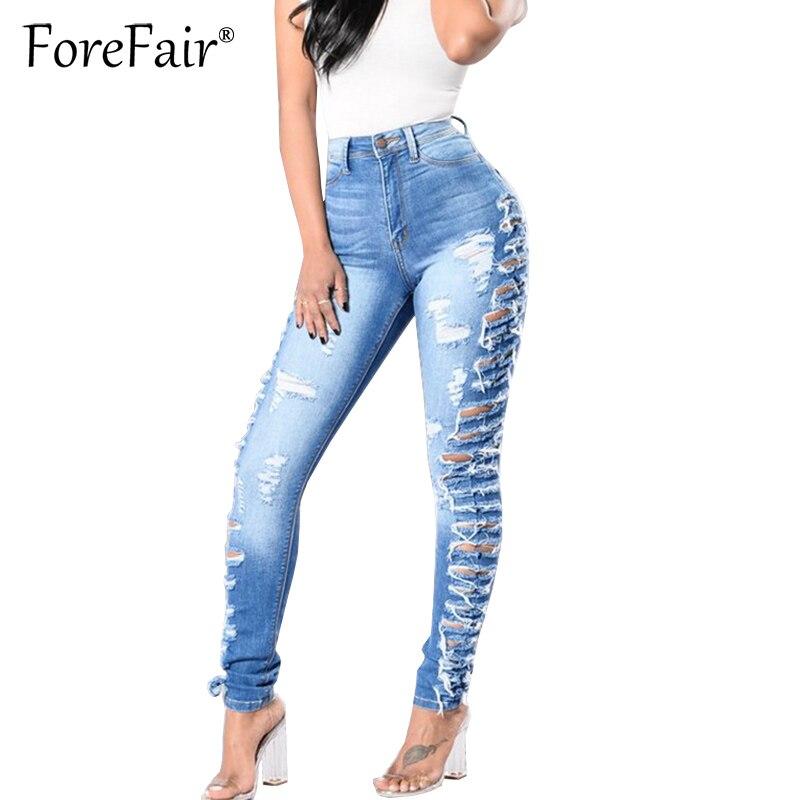 Forefair Fashion Moustache Effect Hole Ripped   Jeans   S-3XL Plus Size Women Denim Pencil Pants Trousers Vintage Slim Stretchy   Jean