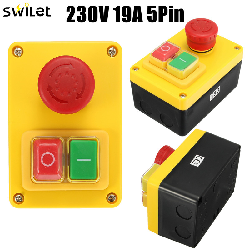 New 1PC 230V 16A 5 Pin NVR Emergency Stop Push Button Switch Motor Stop/Start Switch Best Quality