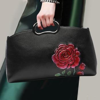 Women Fashion Handbag Genuine Leather 3D Flower Pattern Top Leather Noble Party Top-handle Bag Ladies Shoulder Bags Crossbody