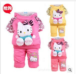 2014 new kids clothing set Winter boy girls warm sets suits baby children thick hello kitty cartoon suit jacket +pants Set suits