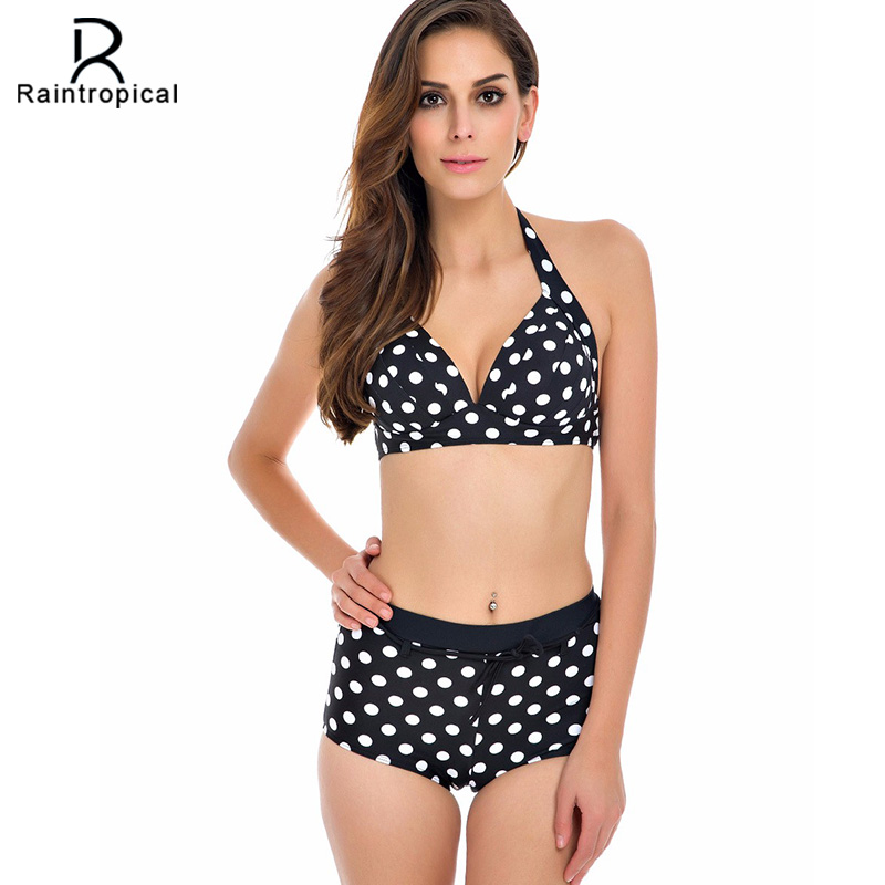 20167New Bikinis Women Swimsuit Plus Size Swimwear High Waist Bathing Suit Push Up Bikini Set Beach Padded Polka Dot Swim Wear summer sexy swimsuit vintage high waist bikini retro push up swimwear women plus size bathing suit printed floral bikinis set