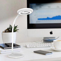 Rechargeable usb table lamp with magnifier Dimmable LED Desk light Magnifying Glass Reading Light Touch Switch living lamp white