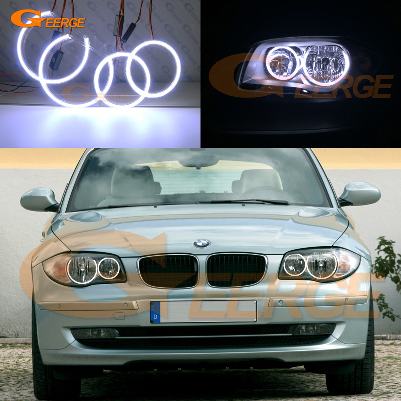 For BMW 1 Series E81 E82 E87 E88 Halogen Headlight Excellent angel eyes Ultra bright illumination COB led angel eyes kit ветровики skyline bmw 5 series e34 88 96 sd