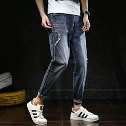 Эластичные мужские джинсы осень новая мода свободные джинсы большого размера девять минут брюки