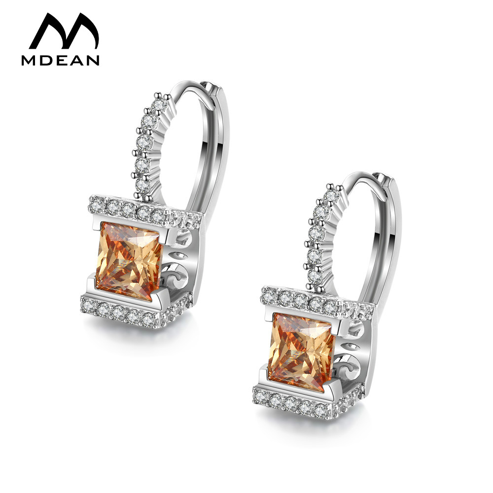 MDEAN White Gold Color Jewelry AAA Zircon Earrings for Women Engagement Brincos Bijoux Boucle Doreille for Girl A012