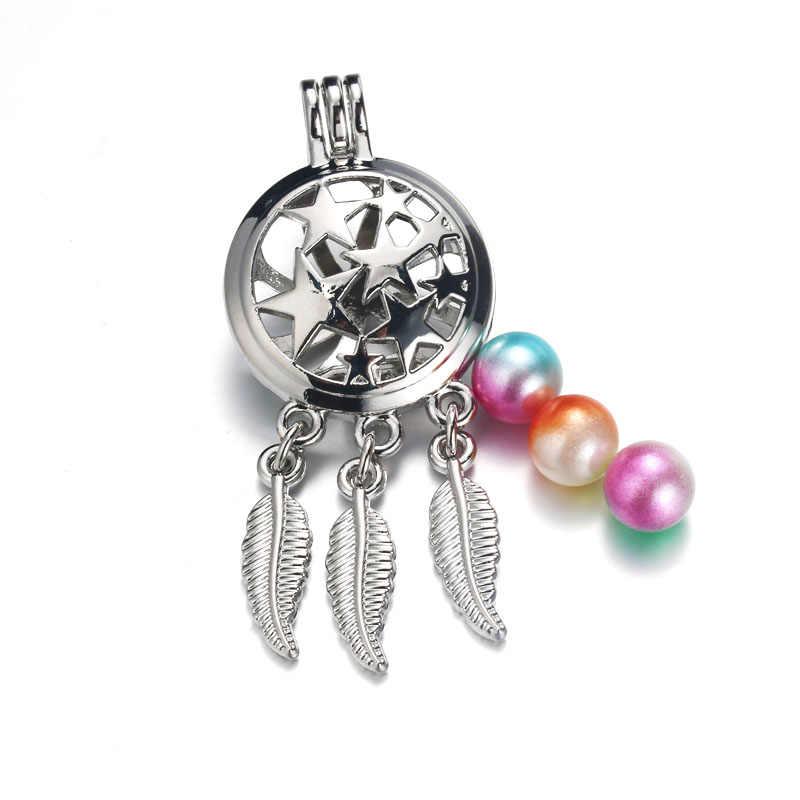 6 ชิ้น/ล็อตเงิน 20 รูปแบบ Dreamcatcher กรงไข่มุกเครื่องประดับทำลูกปัดจี้น้ำมันหอมระเหย Diffuser Locket สำหรับ Oyster Pearl