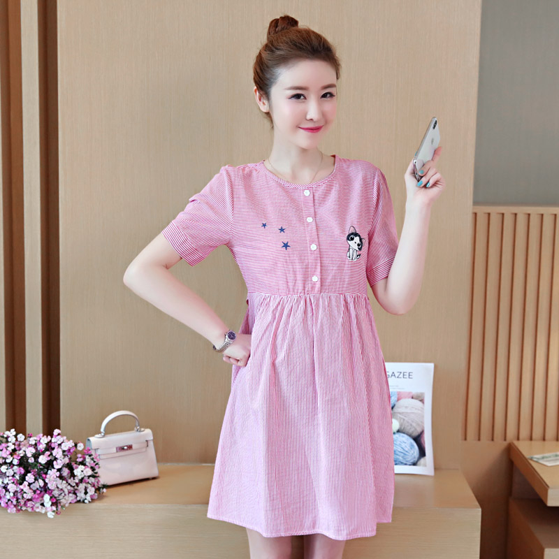 Summer Cotton Maternity Dresses Short Sleeve Dress Striped Pregnancy Blouses Maternity Clothes for Pregnant Women Vestdios C271