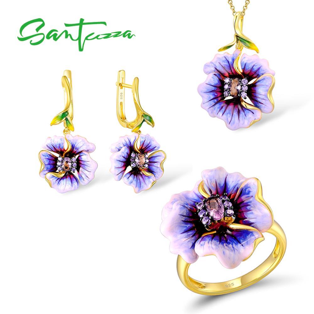 SANTUZZA ensemble de bijoux à la main émail fleur pourpre CZ pierre anneau boucles d'oreilles pendentif collier 925 en argent Sterling femmes ensemble de bijoux