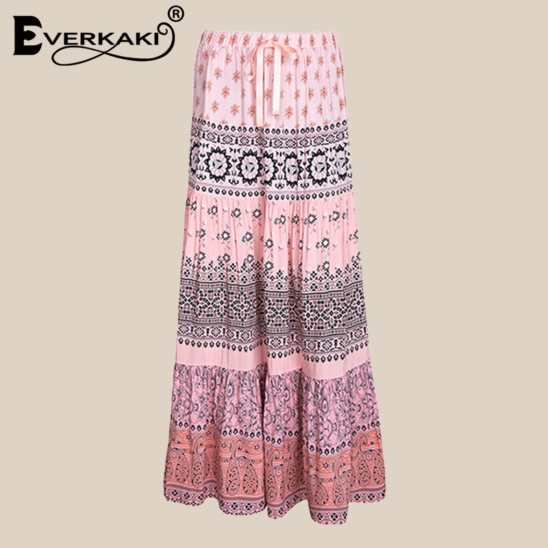 d5eaefdd75 Khale Yose Summer Maxi Skirt Floral Boho Chic High Waist Long Skirts Womens  Vintage Gypsy Folk Flower Holiday ...