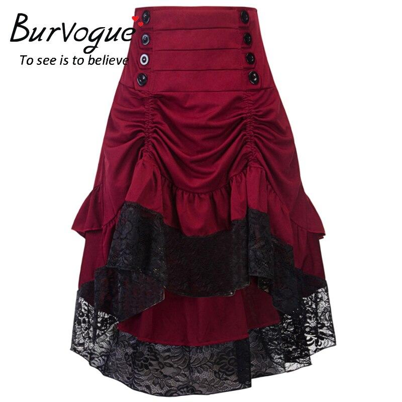 Burvogue Gothic Steampunk Skirt Clothing High Low Vintage Party Skirts Medieval Victorian Gothic Renaissance Skirts Longa Faldas