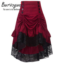 802855a33b Burvogue Gothic Steampunk Skirt Clothing High Low Vintage Party Skirts  Medieval Victorian Gothic Renaissance Skirts Longa