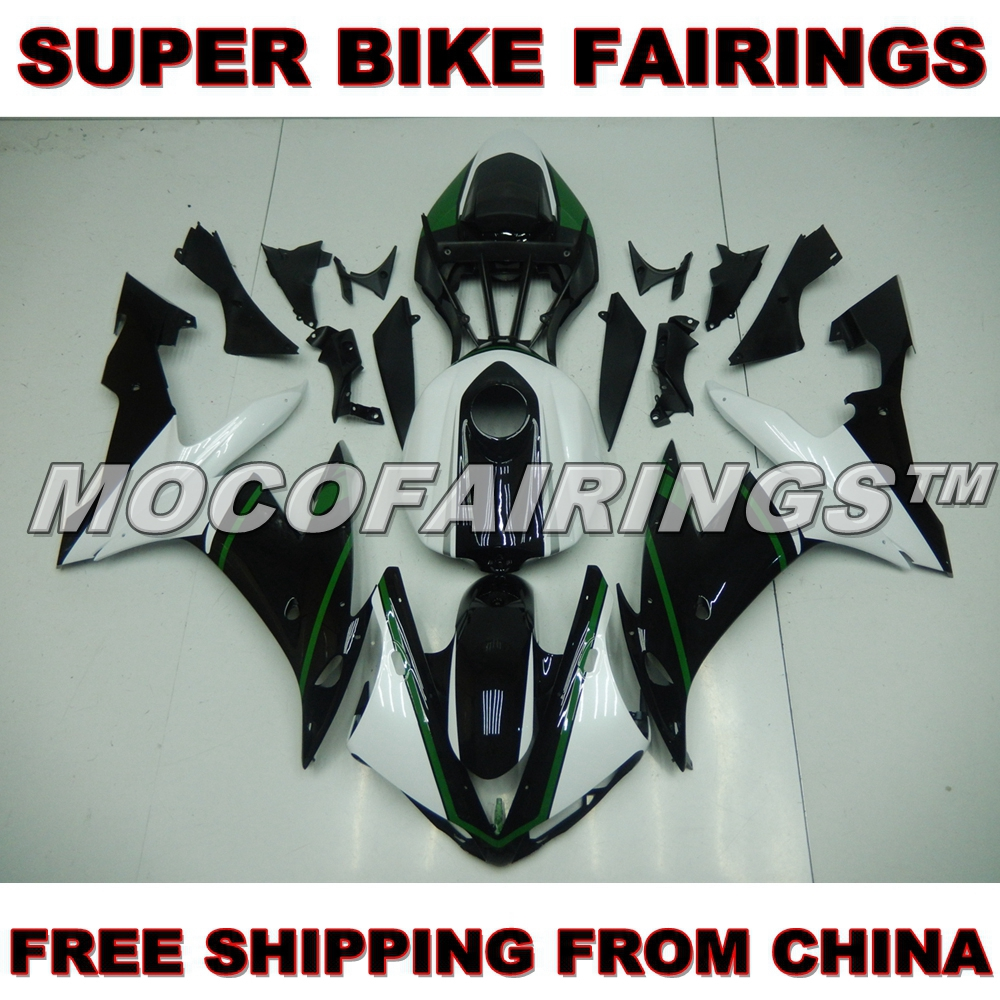 For Yamaha YZF R1 04 05 06 100% Easy Installation Pre-Drilled Holes Injection Fairing Kit PEARL WHITE AND BLACK запчасти для мотоциклов yamaha 100 100 5wb5wy100