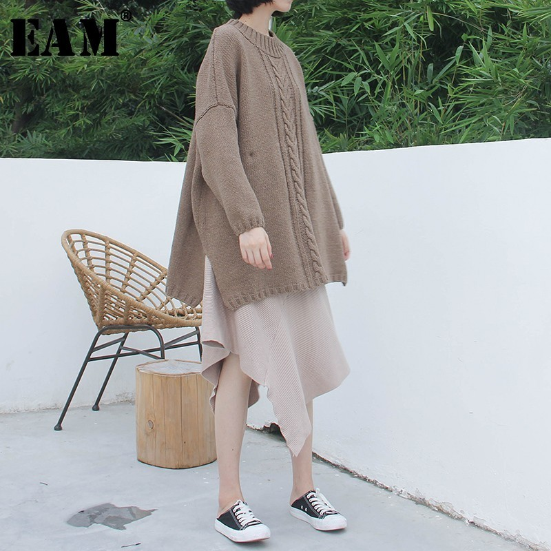 [EAM] Contrast Color Big Size Knitting Sweater Loose Fit Round Neck Long Sleeve Women New Fashion Tide Autumn Winter 2019 1A650