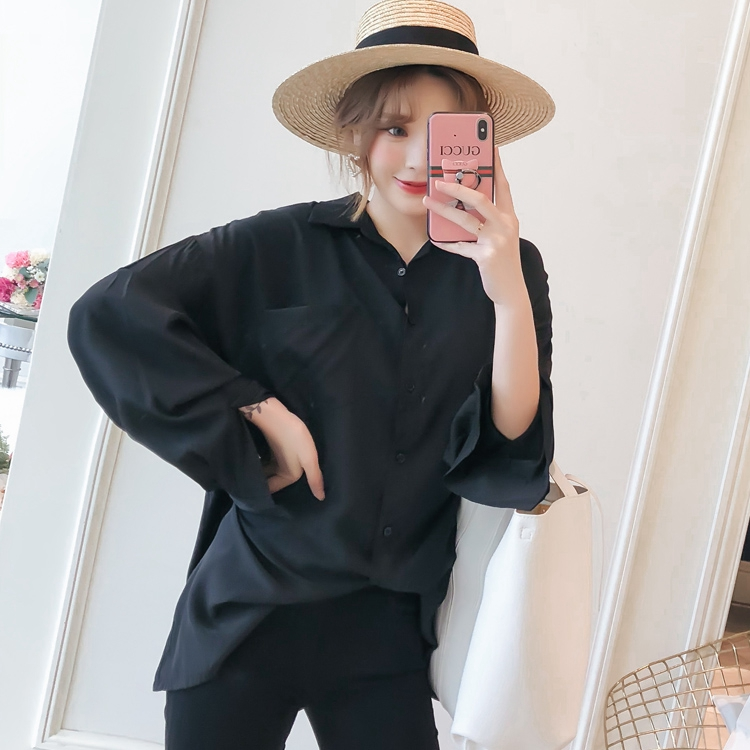Women Oversized Shirts Black Top Boy Friend Style Shirt Woman Leisure Blouse Back Crochet Tops Loose Fitting Turn Down Collar Shirt (7)