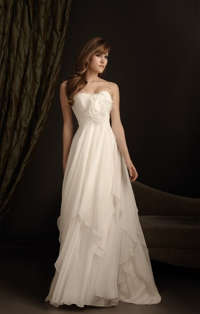 Fabulous A line chiffon wedding gowns, stock bridal gown w ...