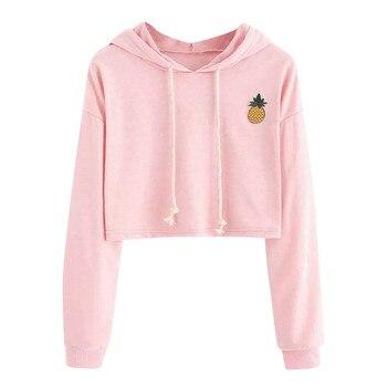 Women Sexy Short Sweatshirt Hoodies Long Sleeve Pullovers Tops hoody sweatshirt for women cute pineapple printed Clothing befree tights