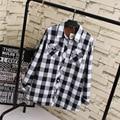 Camisas Xadrez casuais Colarinho Turn-down Das Mulheres Plus Size 3XL 4XL Quente Grossa Manga Comprida Blusa Preto Azul vermelho KK1825