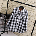 Casual Plaid Shirts Women Plus Size 3XL 4XL Turn-down Collar Warm Thick Long Sleeve Blouse Shirt Black Blue Red KK1825