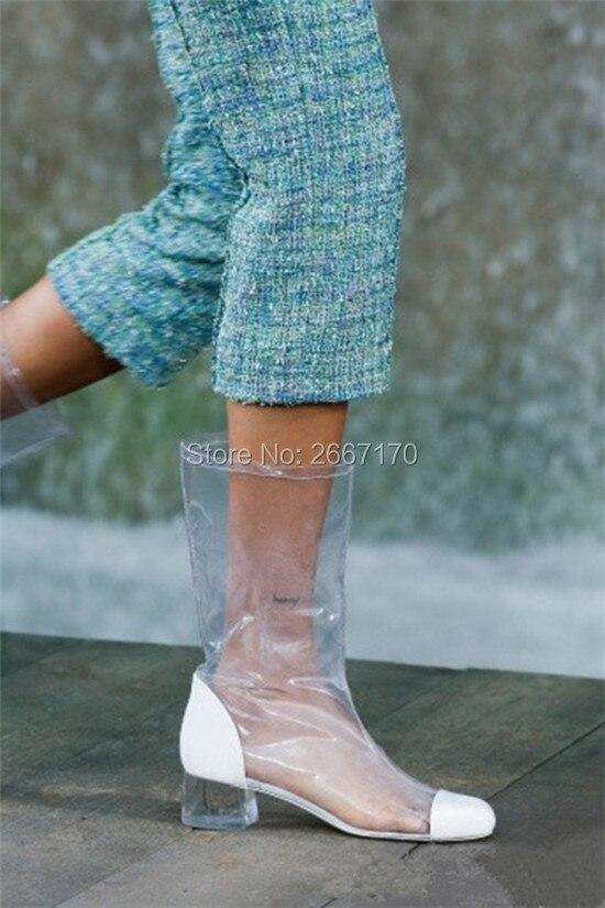 Mujer Black Taille Plexiglas Transparent 34 La Talon Plus Femme Bottes Sandale Gelée Cristal 44 D'été white Botas Chaussures Bloc Patchwork Clair Pluie OqRvg