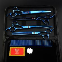 Poetry Kerry Professional Pet Grooming Scissors Set 7.0 8.0 Inch Japan 440C Dog Shears Hair Cutting Thinning Curved Scissors цена и фото